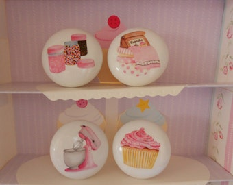 Set of 4 Shabby Pink Kitchen Mixer, cupcake, mixing bowl and sprinkles  Knobs Vintage Chic