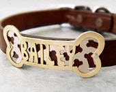 Custom Name Plate on Leather Collar (Bone shape with bone background), Personalized ID tag, Nameplate, jewelry