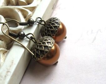 Acorn earrings, copper Swarovski pearls, nature inspired,woodland, brass acorn caps