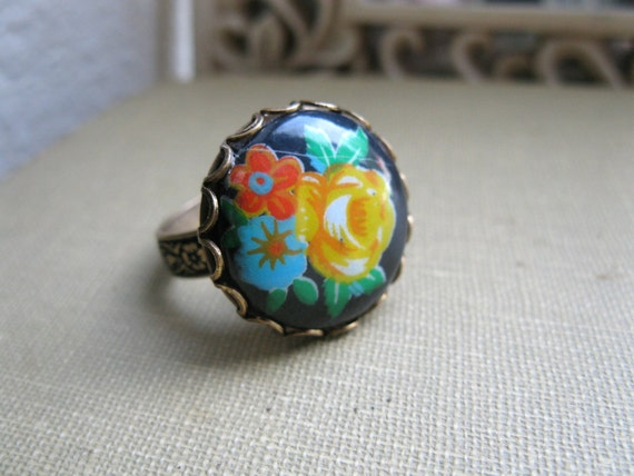 Vintage glass ring, black flower cabochon, adjustable band, colorful flower bouquet