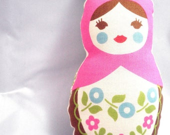 Russian Matryoshka Doll Ornament Peppermint Pink, or worry doll without ribbon