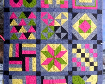 Modern Kona Solid Patchwork Quilt, Throw Blanket , Lap, Heirloom, Sampler in gray, lime green, pink, and yellow