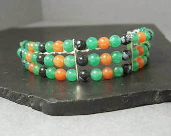 Vibrant Green, Orange and Black Triple Strand Bracelet