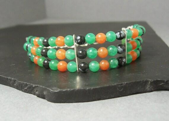 Vibrant Green, Orange and Black Triple Strand Bracelet