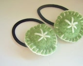Green felted wool ponytail holders, puffy, round, primitive star embroidery, handsewn Set of 2