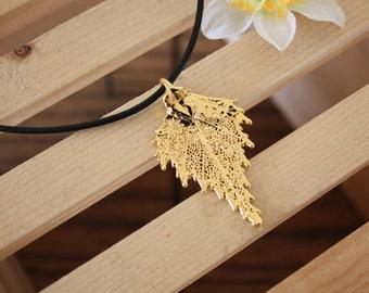 Leaf Necklace, Real Leaf, Leaf Pendant, Birch Leaf, 24kt Gold,  2