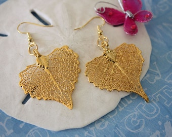 Gold Leaf Earrings, Real Leaf Earrings Cottonwood 24kt Gold, GOld Leaf, LESM18