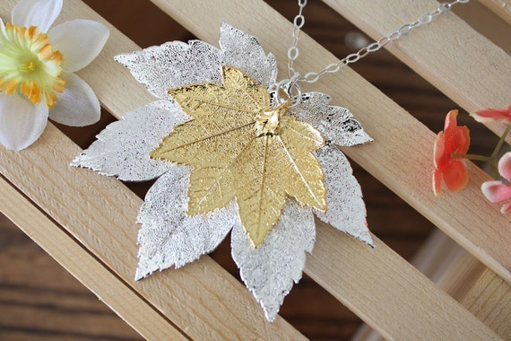 Double Leaf Necklace, Double Real Leaves Full Moon Maple Necklace 24kt Gold n Sterling Silver, 1