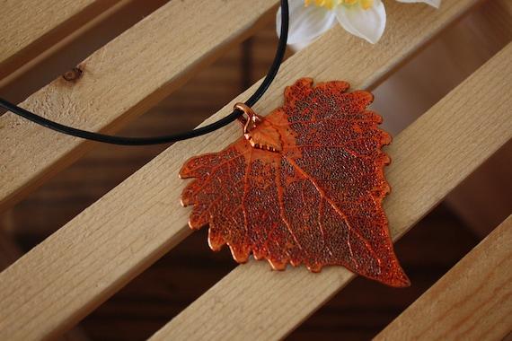 Leaf Necklace Copper, Real Leaf, Leaf Pendant, Cottonwood Leaf, 7 L
