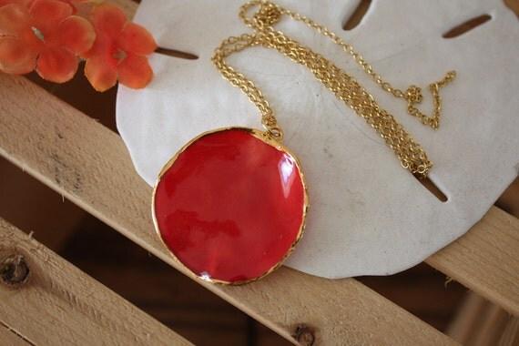 Real Rose Petal Red 24kt Gold Resin Necklace