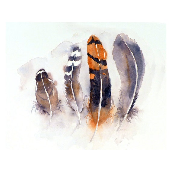 Feather Art Original Painting Watercolor - Bird Feather Painting, Orange and Grey Feathers, Nature, Tribal Feather Art  - Home Decor