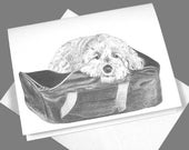 Cock-a-poo Puppy on suitcase Stationery set of 6 Note Cards 10% donation to Animal Welfare
