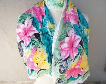 Vintage VERA scarf / long floral SILK Tiger Lillies aqua pink lime green oblong / Vera Neumann scarf