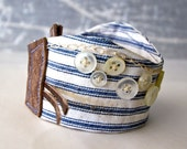 Bracelet Fabric Textile Wrist Cuff Buttons Blue Seaside Hand Embroidery