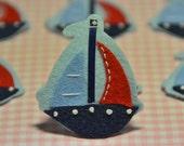 Set of 6pcs handmade felt boat--aspen blue/melin blue (FT264)