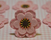 Set of 6pcs handmade felt flower--pink frost (FT831)