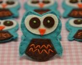 Set of 6pcs handmade felt owl--tro. turquoise (FT775)