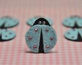 Set of 6pcs Bling Bling felt ladybug with swarovski crystal--blue (FT770)