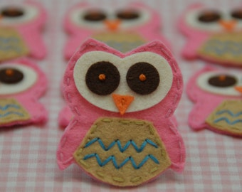 Set of 6pcs handmade felt owl--carnation (FT775)