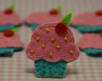 Set of 6pcs handmade felt cupcake--tro. turquoise (FT834)