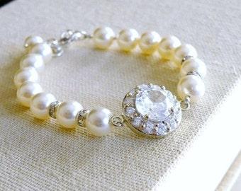 Bridal CZ Bracelet CZ Ivory Swarovki Pearls Sterling CNB3
