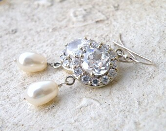 Bridal Earrings Swarovski Ivory Pearl CZ Sterling Dangle CNE3