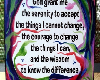God Grant Me SERENITY PRAYER Inspirational Quote Motivational Print AA Recovery Sobriety Family Friends Heartful Art by Raphaella Vaisseau