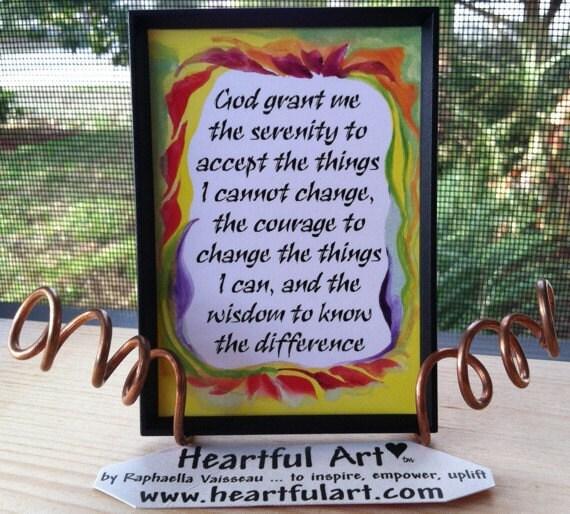 God Grant Me SERENITY PRAYER Inspirational Quote Magnet Motivational Print Encourage Spiritual Meditation Heartful Art by Raphaella Vaisseau