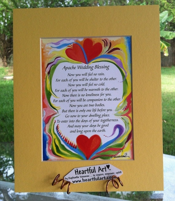 APACHE WEDDING BLESSING 8x10 Inspirational Quote Bride Groom Marriage Anniversary Love Sayings Home Decor Heartful Art by Raphaella Vaisseau