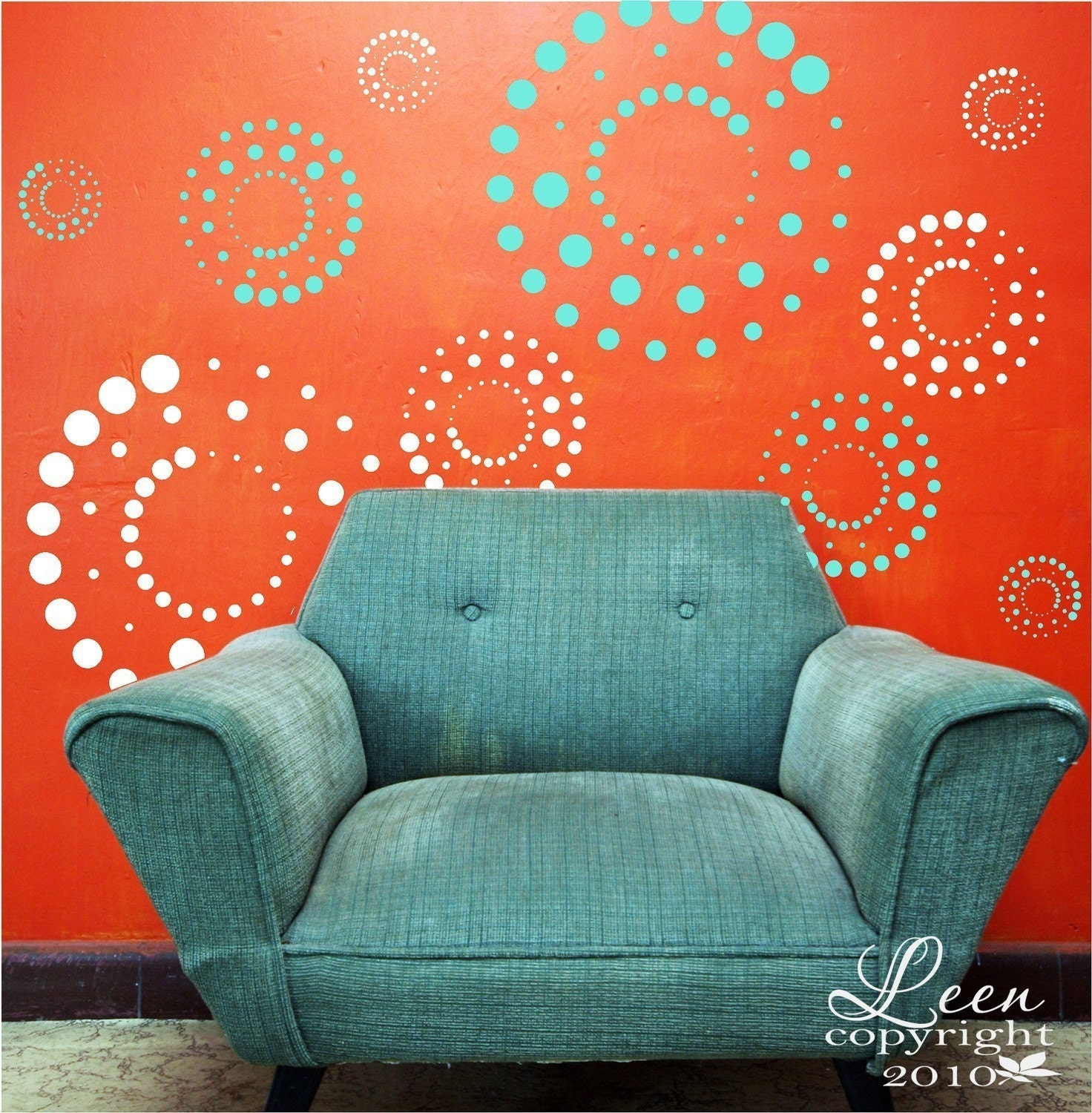 fun retro circles removable vinyl wall decals from 5 inches. Black Bedroom Furniture Sets. Home Design Ideas