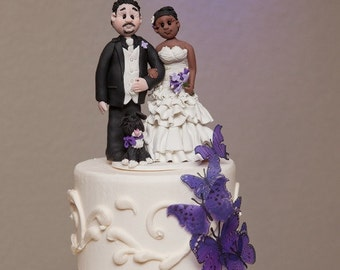 Custom wedding cake topper, personalized cake topper, Bride and groom cake topper, Mr and Mrs cake topper, interracial cake topper