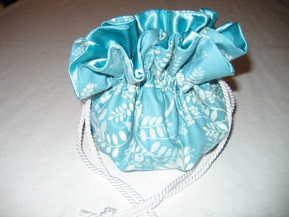Aqua and White Jewelry Tote Bag Pouch Drawstring