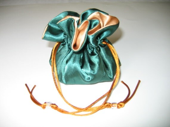 Junior Jewelry Tote Bag Pouch Satin Hunter green Gold