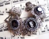 La Parisienne - Silverplated Brass Filigree linked bracelet with vintage hematite crystal and vintage jet intaglio