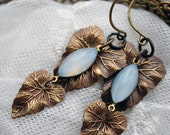 Misty Morning Blues - Nature inspired long dangle leaf earrings with light blue opal