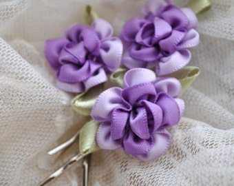 Set of three bobby pins with pastel purple and lavender ribbon flowers, a little bit of Marie Antoinette in your hair