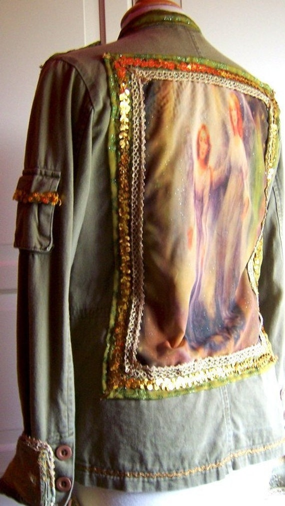 Autumn Angels -Customized Camo army green cotton jacket with sheer angelic picture on the back - Size S - OOAK