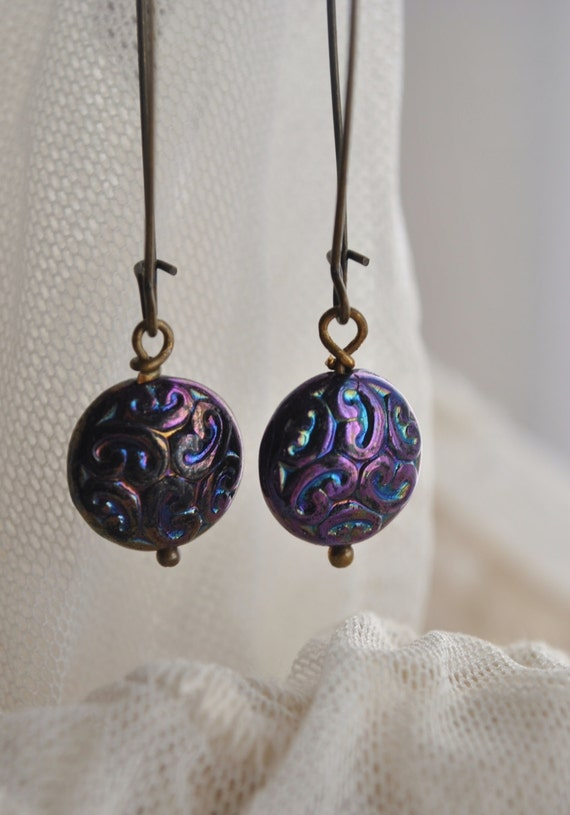 Mysterious Bohemian Swirly Glass round Coin dangle earrings extra large vintage brass earwires. Peacock colors deep purple paisley