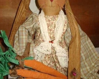"""Artist Doll BUNNY PATTERN and CARROTS 28 inch """"Bailey Bunny"""" Fabric Dolls Pattern"""