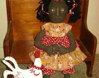 "Primitive PATTERN 18 inch Black DOLL and Chicken Pattern 160 ""Kallie & Dot"" NEW"