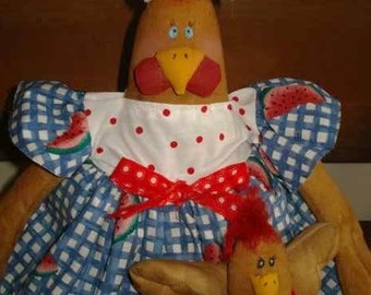 FABRIC DOLL, Chicken Doll PATTERN 19 Inch with Baby Rooster and Watermelon Slice  #156 Raggedydays Artist Dolls