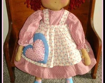 RAGGEDY ANN DOLL Pattern and Heart 22 inch Doll Pretty in Pink