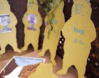 letterpress Bear Hug card diecut Grizzly