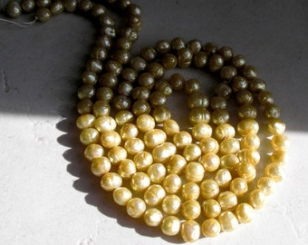 Faceted Yellow Freshwater Pearls Light Butter Yellow Pearl Beads