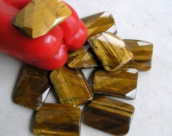 Faceted Tiger Eye Beads- 30mm x 40mm Rectangle Beads- Gemstone Beads For Jewelry Making