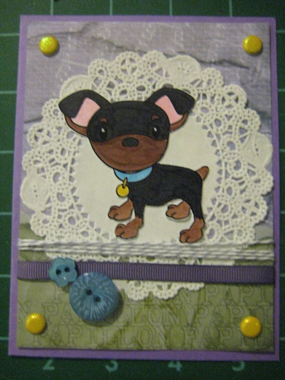 100% Donation Item: Purple Puppy Card Set, Adorable Set of 5 Dog Cards, Min Pins, Manchester Terrier, Miniature Pinscher, Sassy and Sweet