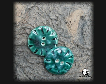 2 Emerald Eyes Stoneware Buttons