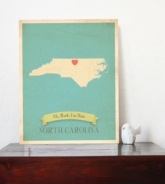 My Roots Personalized Vintage Map Wall Art 11x14-Customized Map Choose Your State