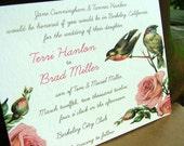 Vintage Birds Wedding Invitation - VIntage Invitation - Pink Invite