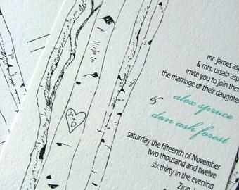 Wedding Invitations: Aspen Woodland Trees